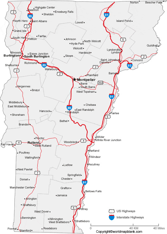Labeled Map of Vermont with Cities