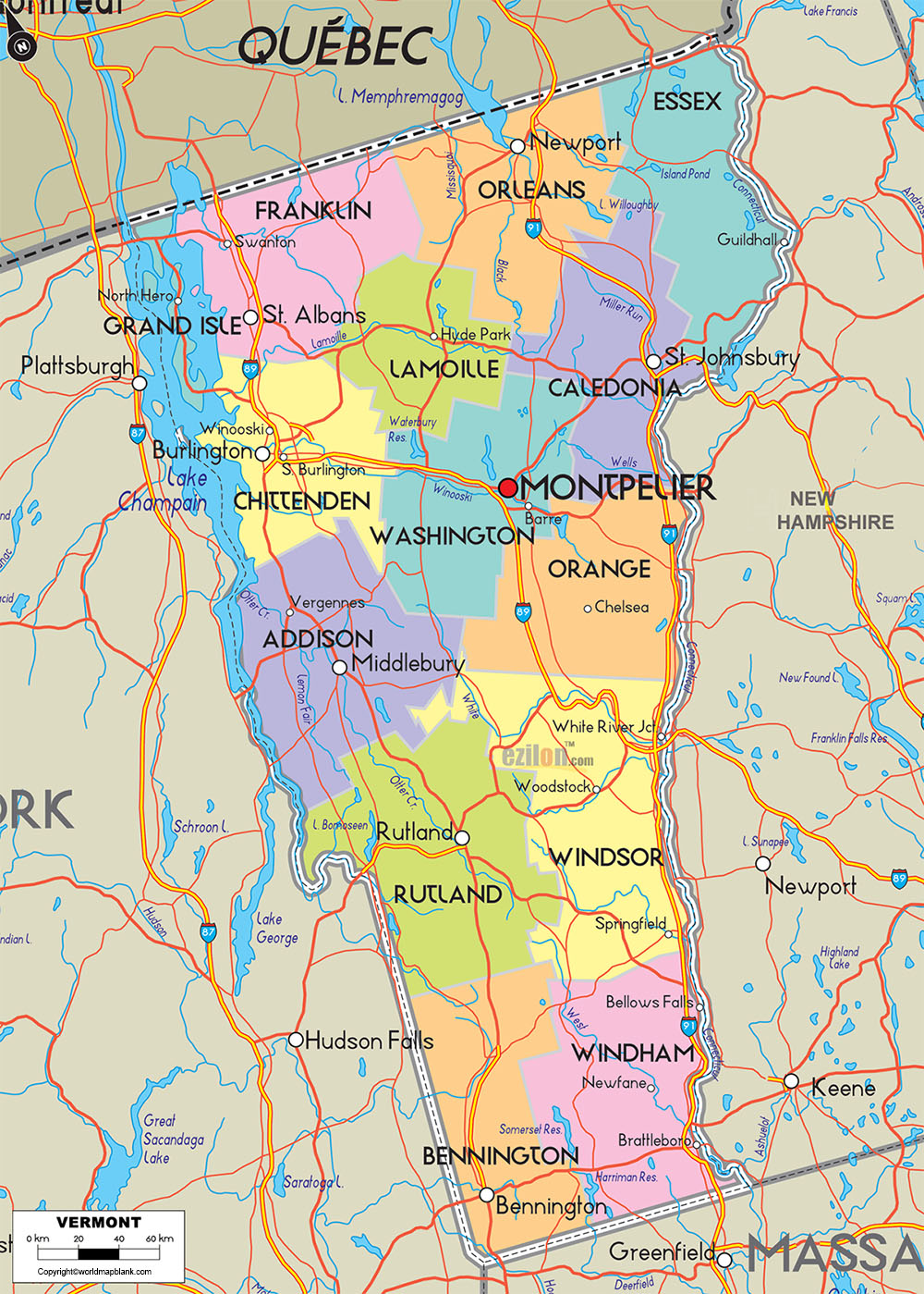 Labeled Map of Vermont