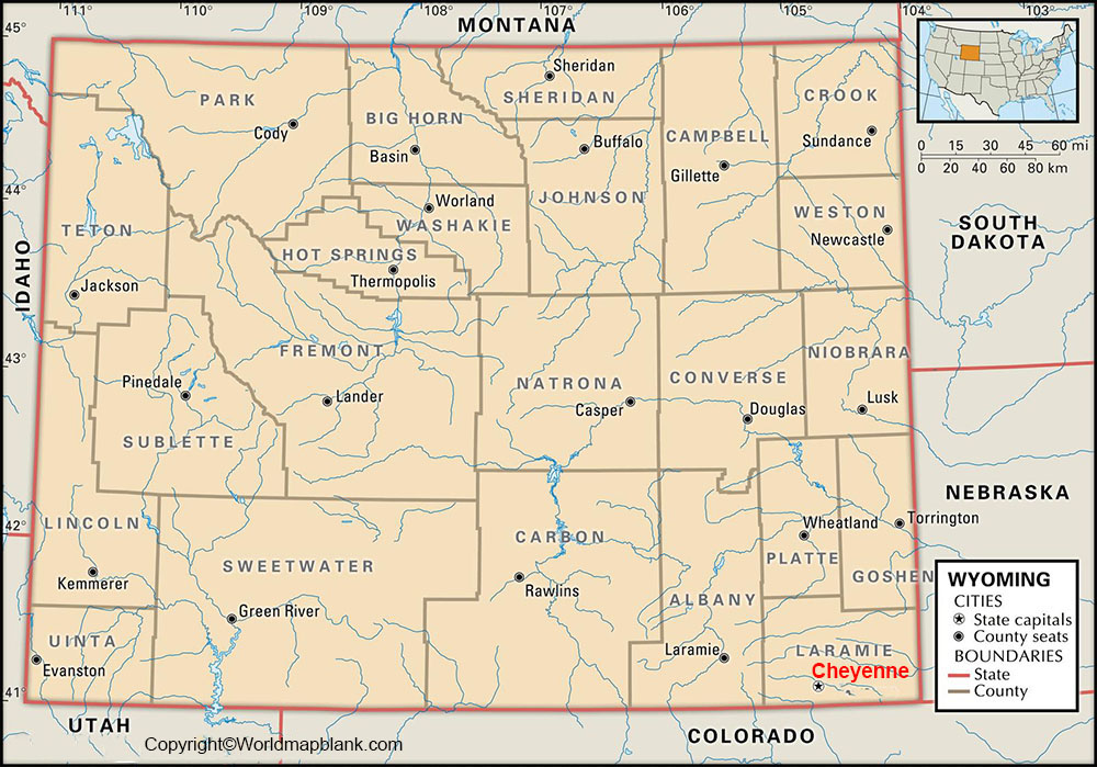 Labeled Wyoming Map with Capital