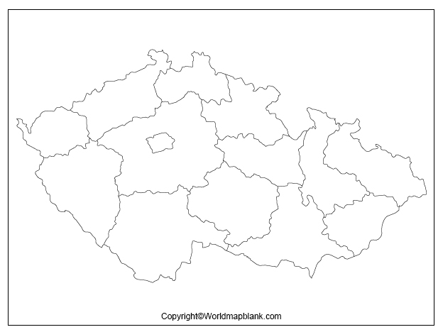 Map of Czechia for Practice Worksheet