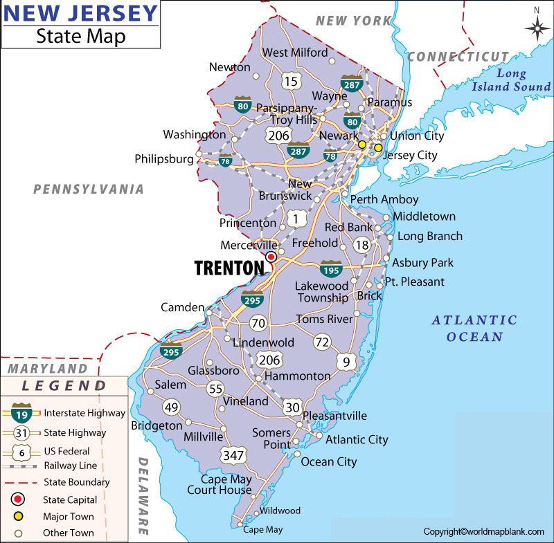 Printable Map of New Jersey Labeled
