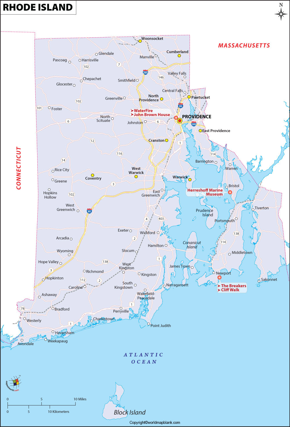 Printable Map of Rhode Island Labeled