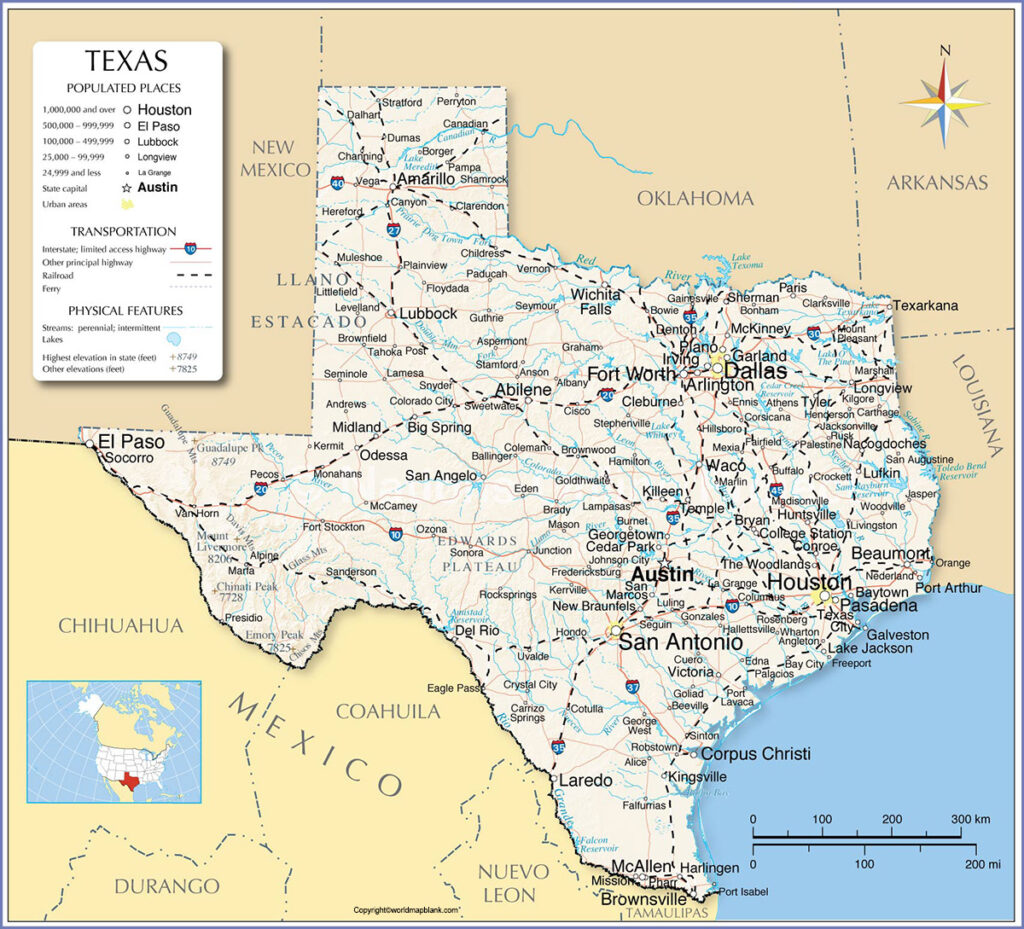 Printable Map of Texas Labeled