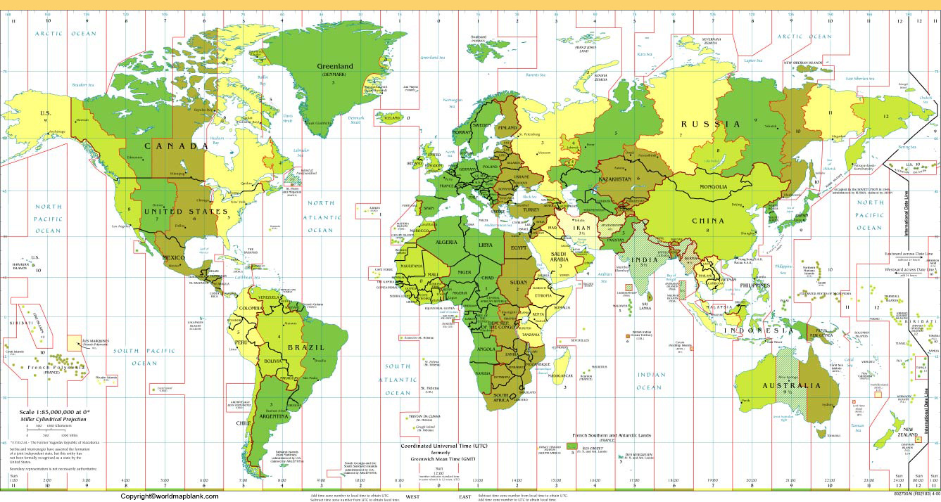 World Map with Time Zones and Countries
