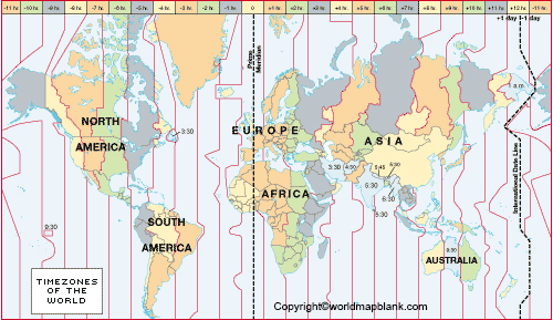World Map with Time Zones and Latitude and Longitude