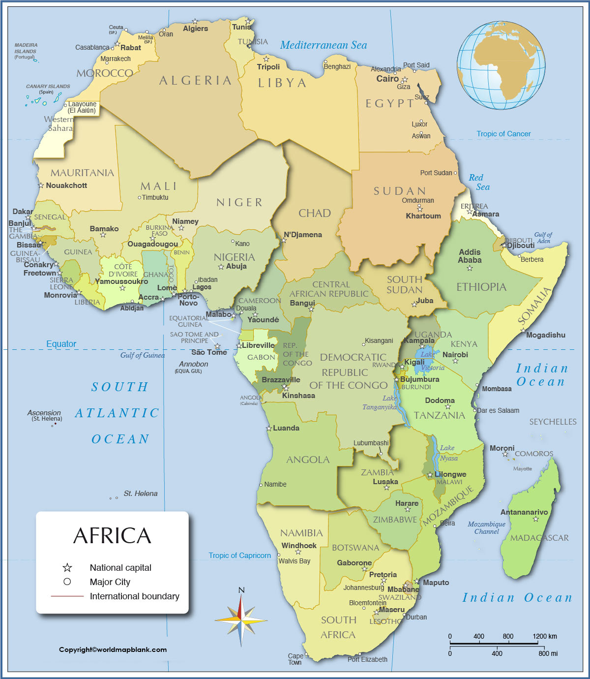 Africa Map with Capitals Labeled