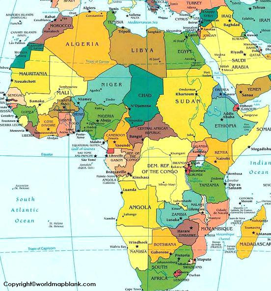 Africa Map with Country Names