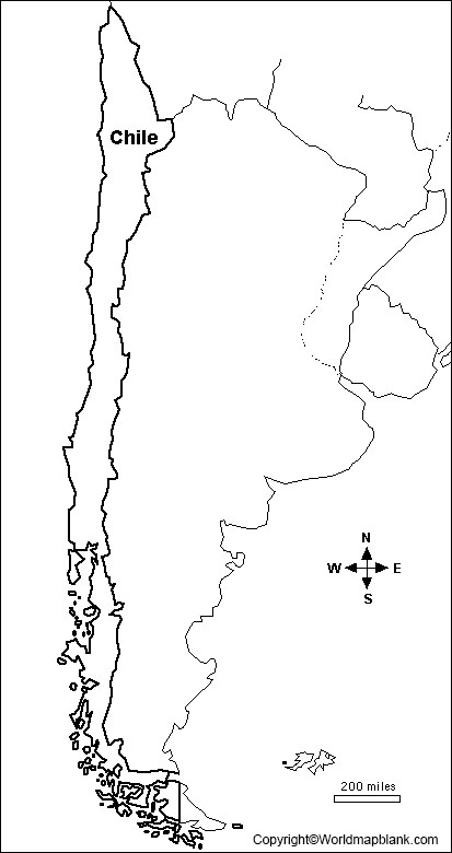 Blank Map of Chile - Outline