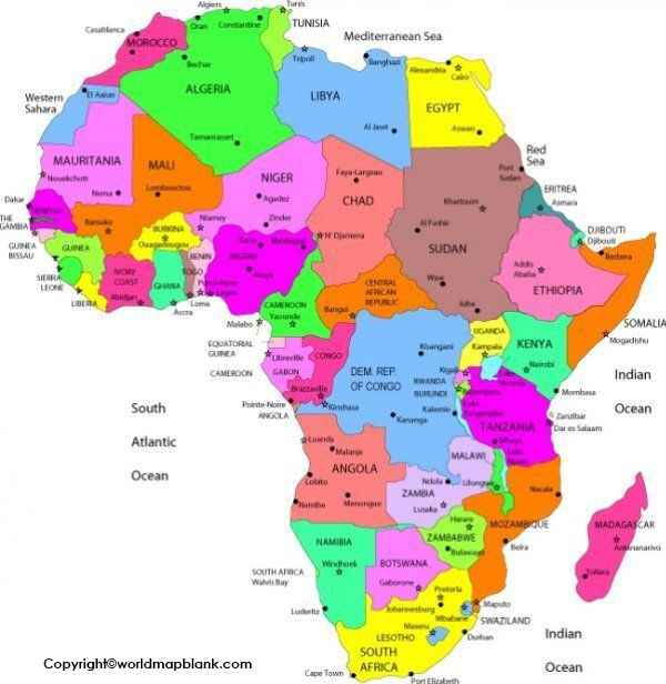 Labeled Map of Africa with Countries