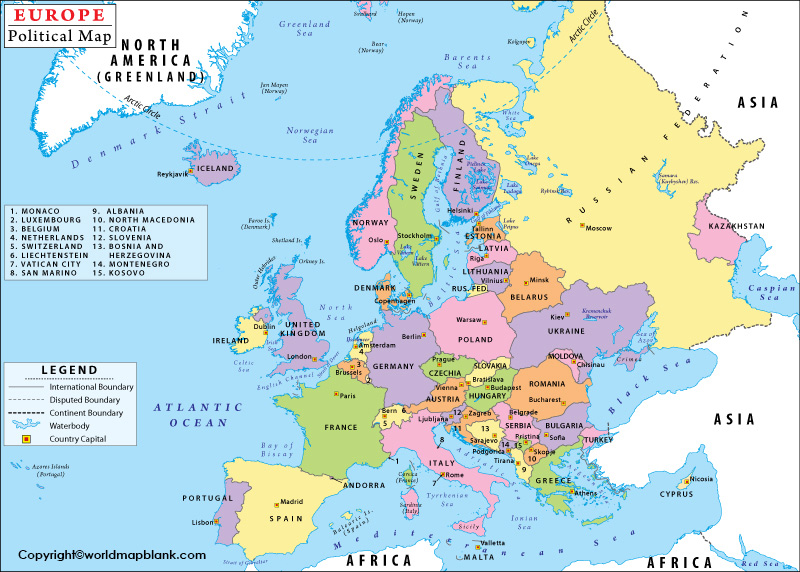 Labeled Map of Europe with Countries