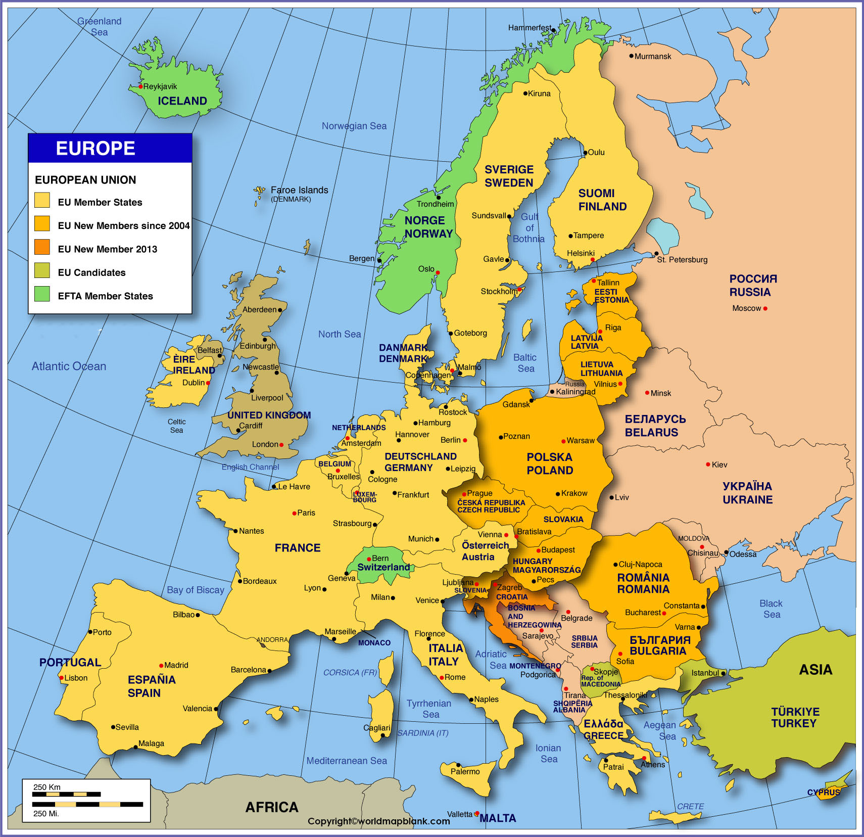 Labeled Map of Europe