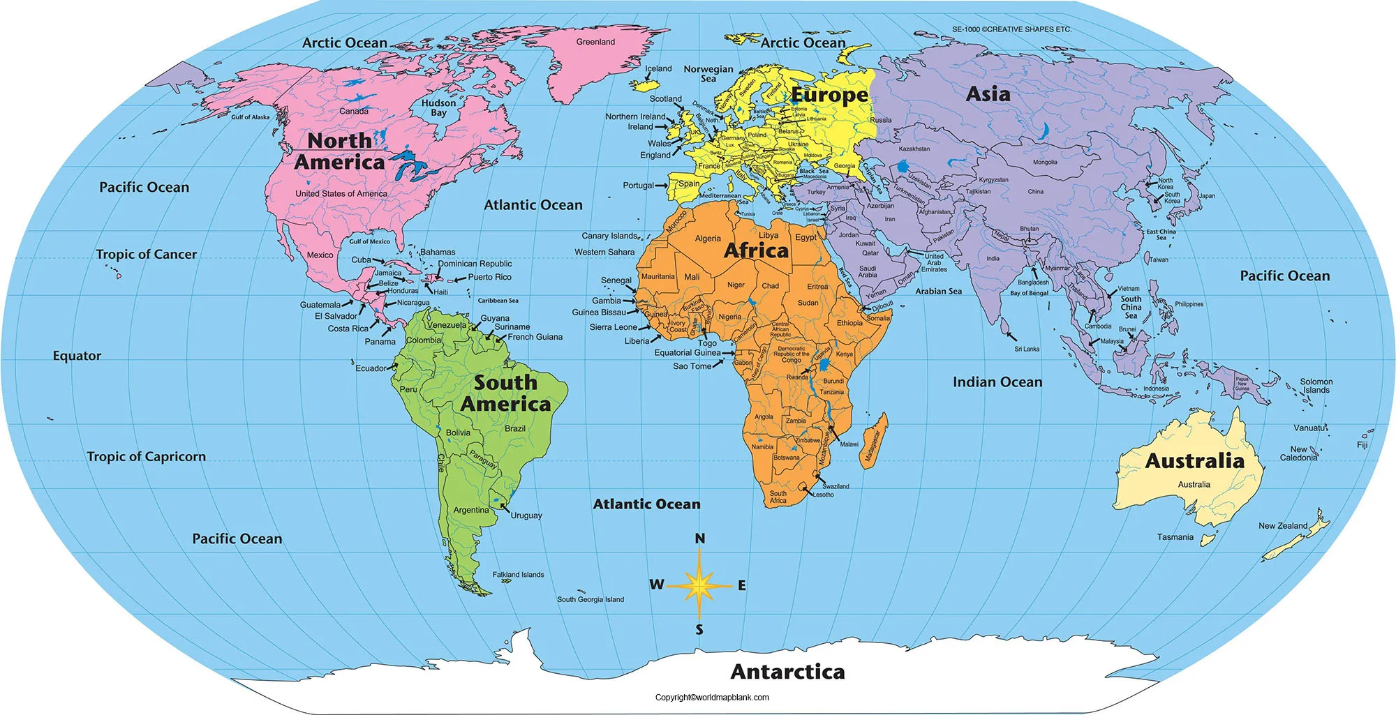 Labeled Map of World with Oceans