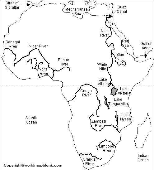 Labeled Map of Africa with Rivers
