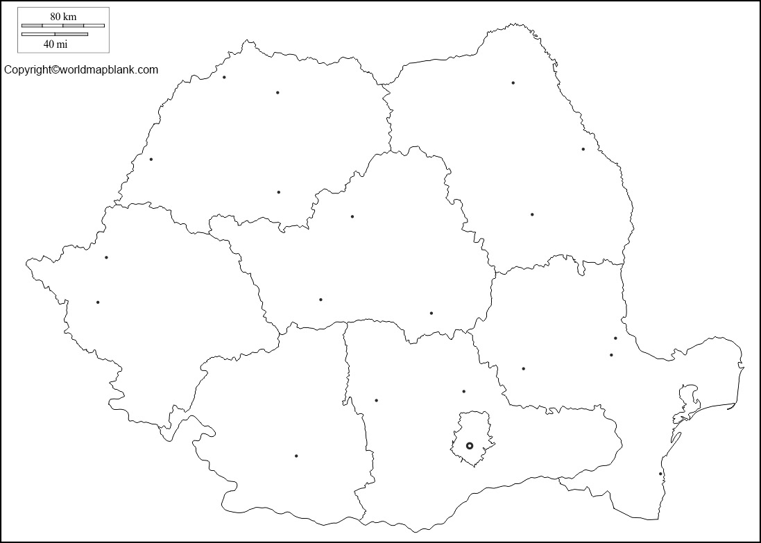 Map of Romania for Practice Worksheet