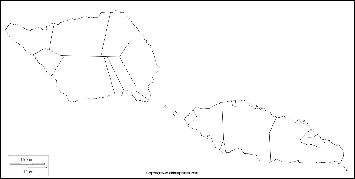 Map of Samoa for Practice Worksheet