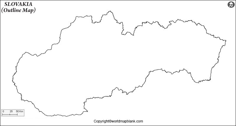 Map of Slovakia for Practice Worksheet