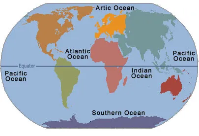 World Map with Oceans and Equator