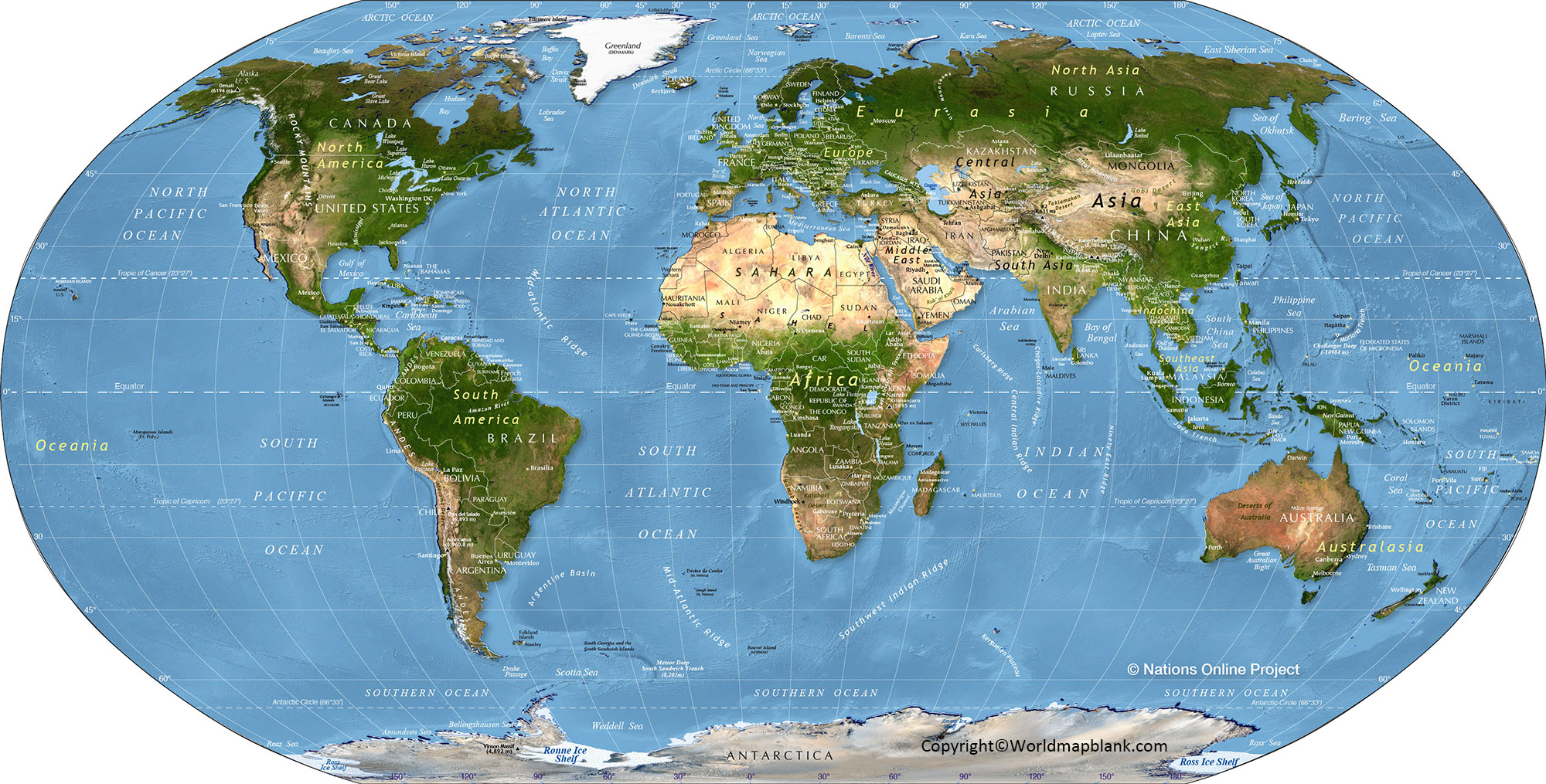 Physical Map of World