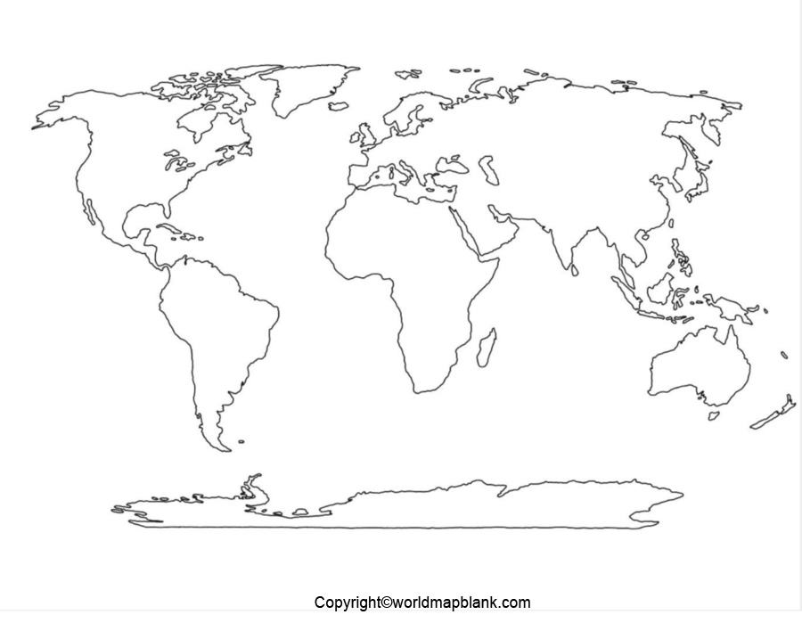 Political World Map Black and White