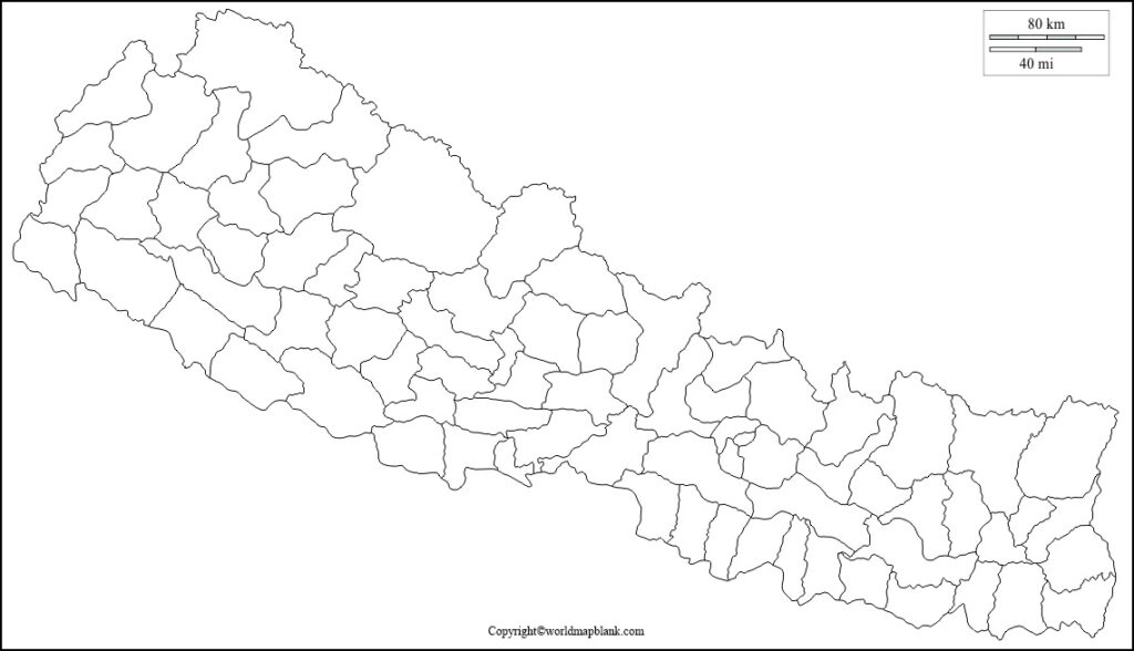 Nepal Map for Practice Worksheet
