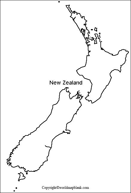 Map of New Zealand for Practice Worksheet