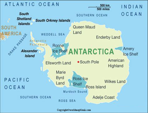 Labeled Antarctica Map with Capitals