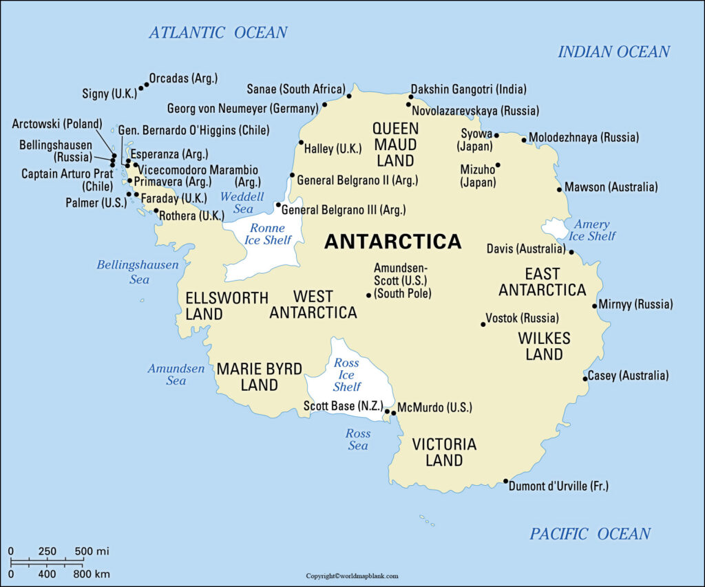 Labeled Antarctica Map with Countries