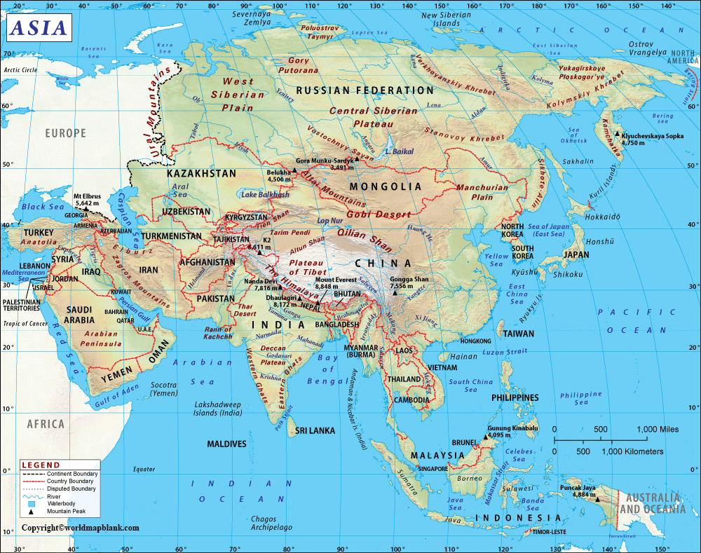 Labeled Map of Asia
