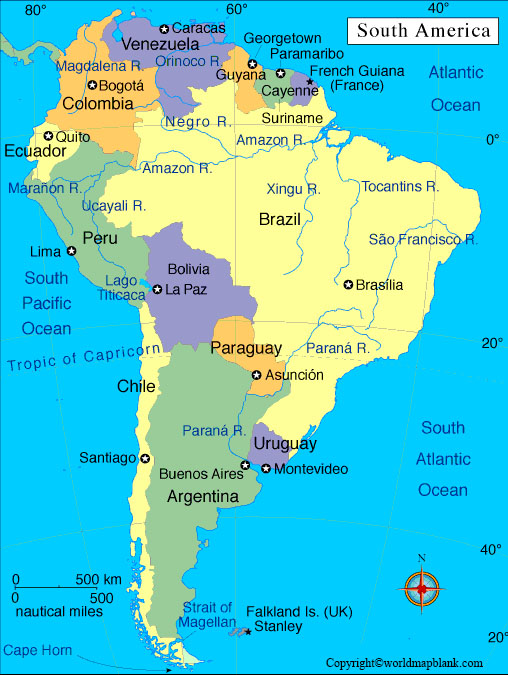 Labeled South America Map with Countries