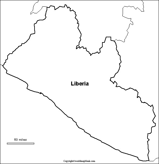 Map of Liberia for Practice Worksheet