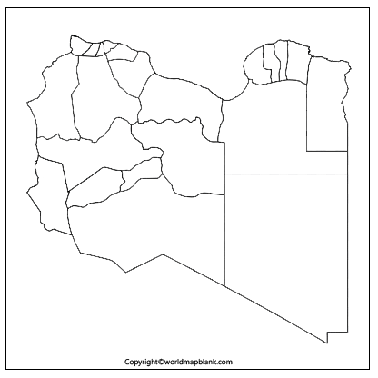 Map of Libya for Practice Worksheet