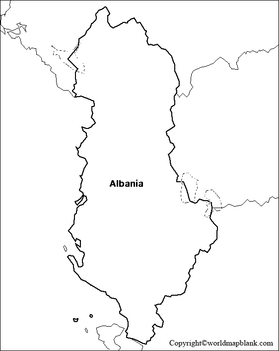 Blank Map of Albania - Outline