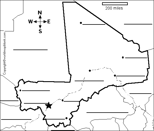 Blank Map of Mali - Outline