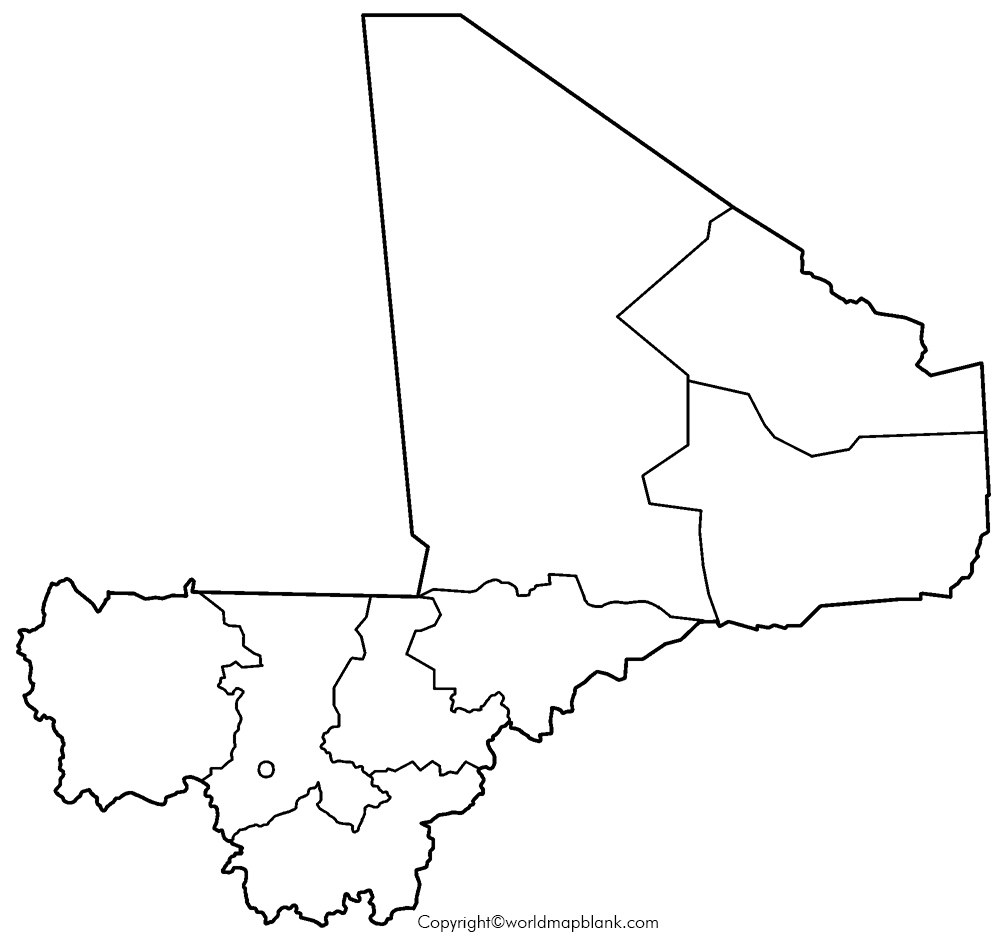Map of Mali for Practice Worksheet