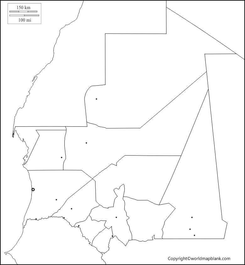 Blank Map of Mauritania – Outline