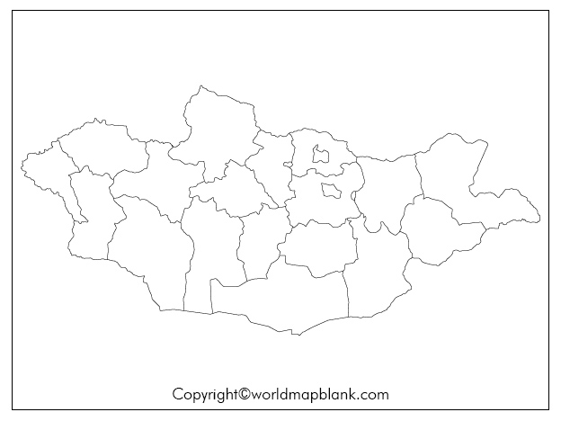 Blank Map of Mongolia for Practice Worksheet