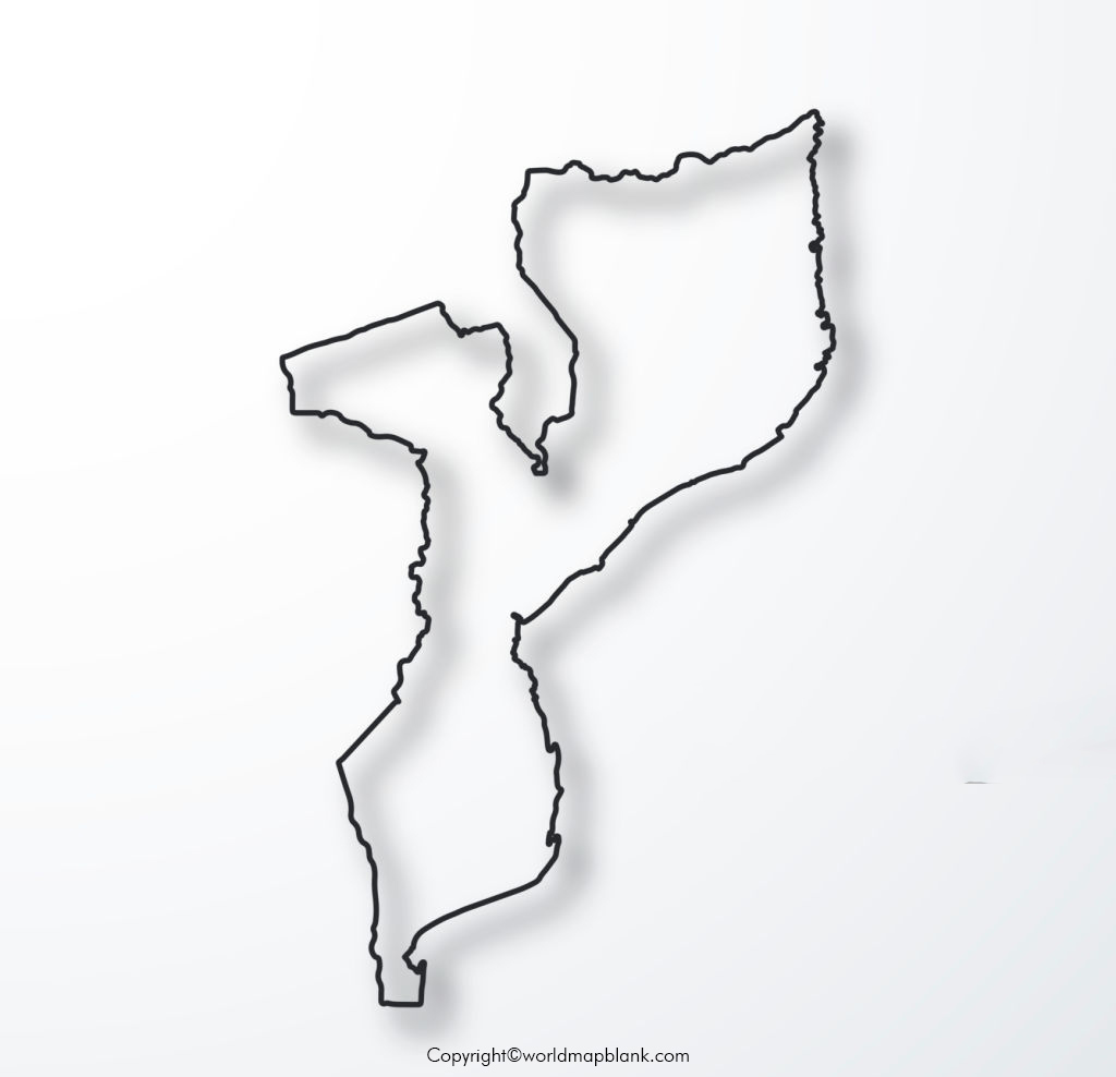 Blank Map of Mozambique for Practice Worksheet