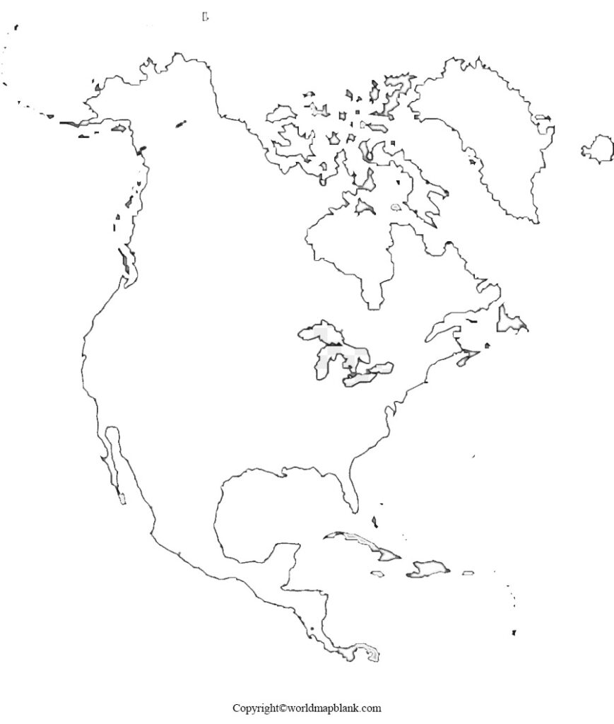 Blank Map of North America for Practice Worksheet
