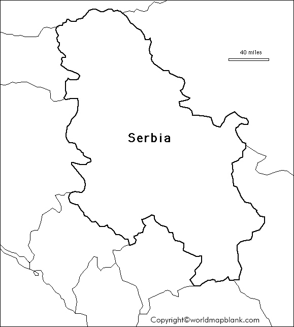 Blank Map of Serbia for Practice Worksheet