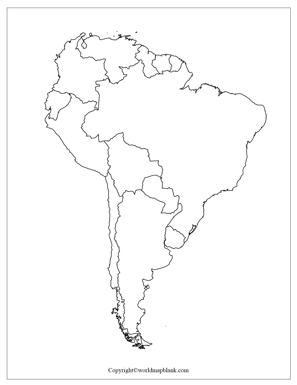 Blank Map of South America for Practice Worksheet