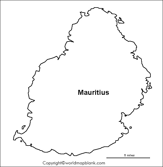 Blank Map of Mauritius