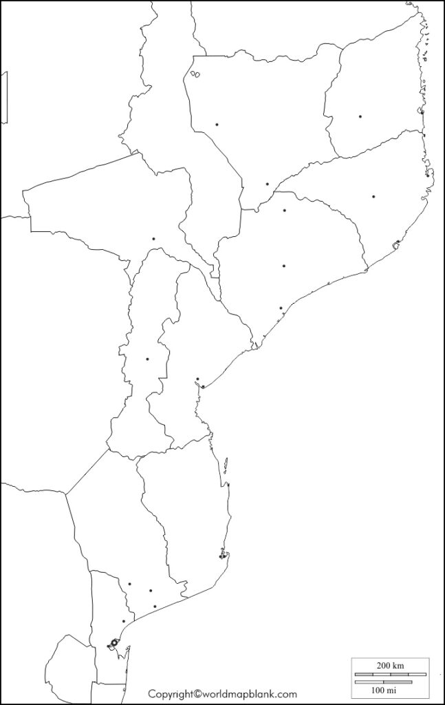 Blank Map of Mozambique - Outline