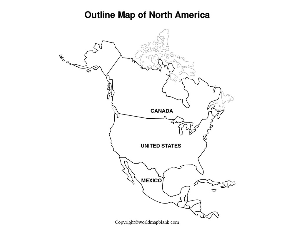 Blank Map of North America - Outline