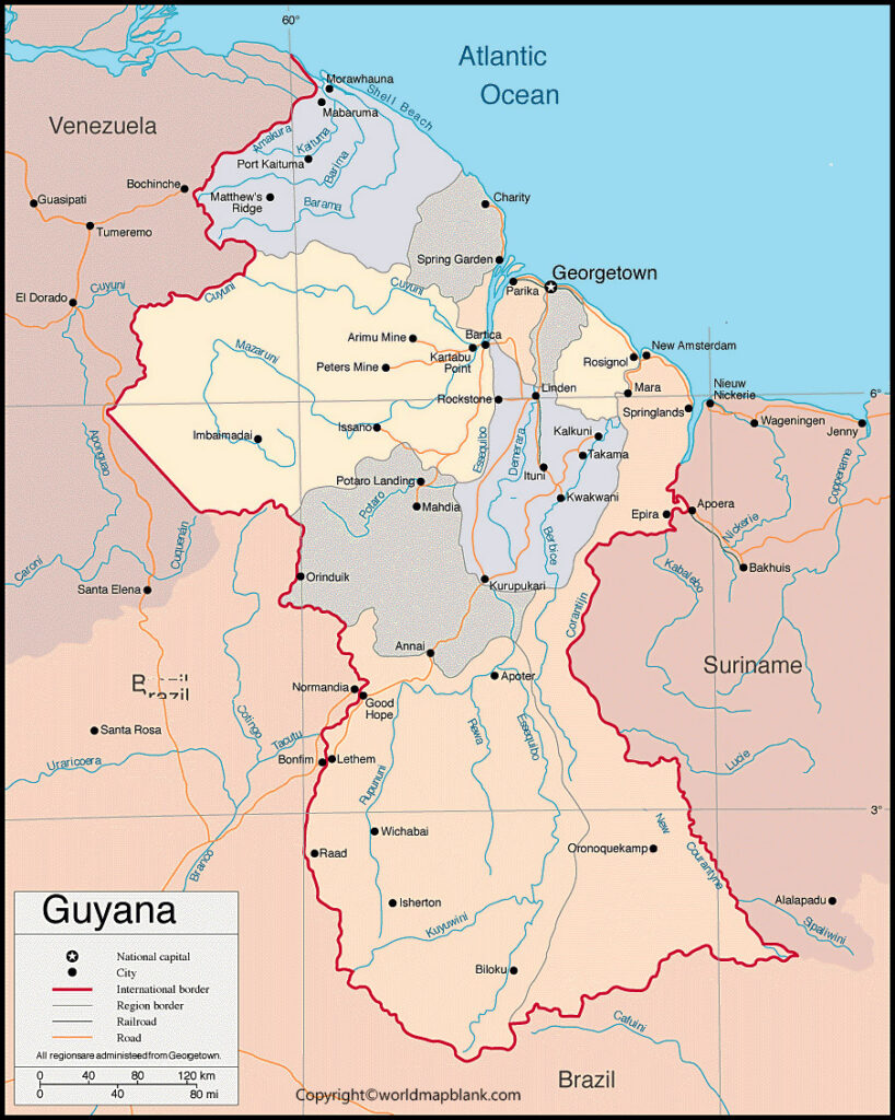 Guyana Map with Cities Labeled