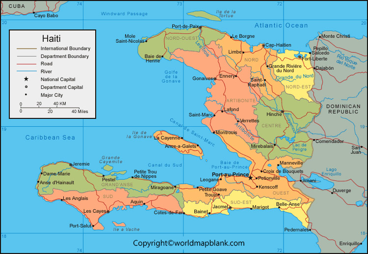 Haiti Map with Cities Labeled