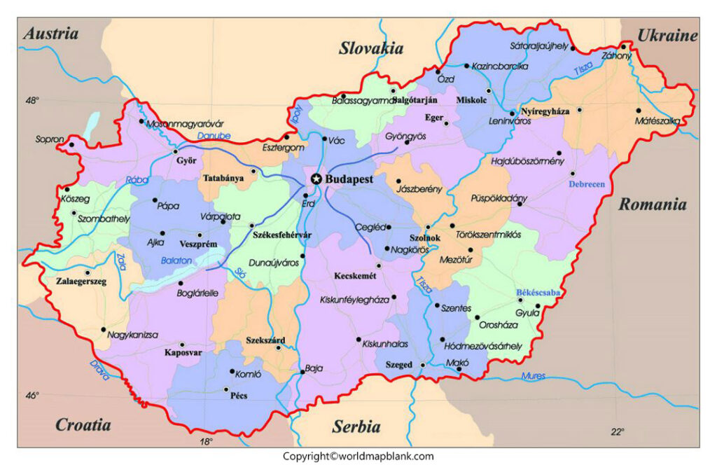 Hungary Map with Cities Labeled