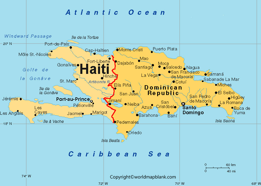 Labeled Map of Haiti with Capital
