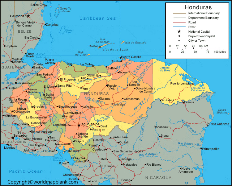 Labeled Map of Honduras with Capital