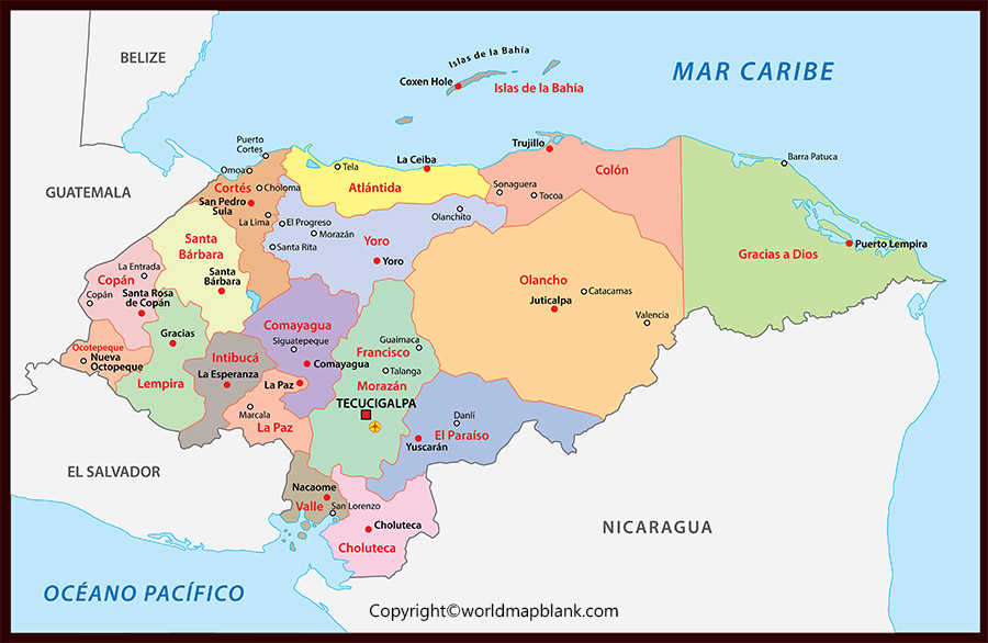 Labeled Map of Honduras with States