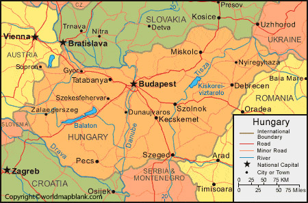 Labeled Map of Hungary with Capital